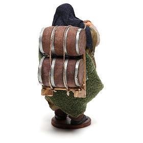 Hombre que lleva barriles madera belén de Nápoles 12 cm de altura media s5