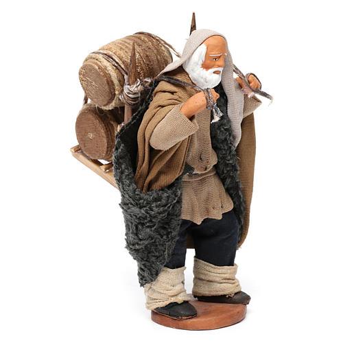 Hombre que lleva barriles madera belén de Nápoles 12 cm de altura media 3