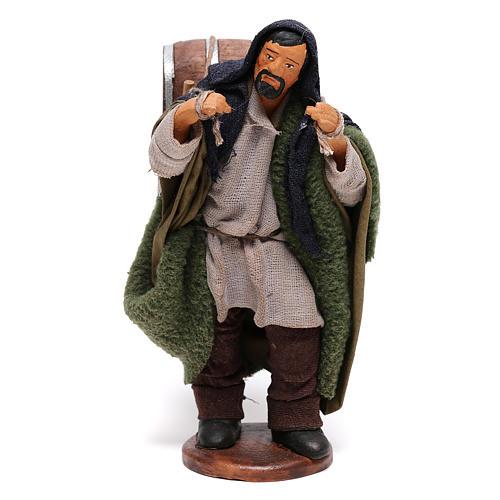 Hombre que lleva barriles madera belén de Nápoles 12 cm de altura media 1
