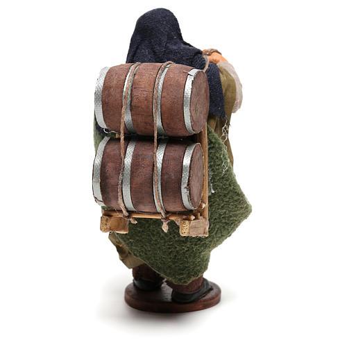 Hombre que lleva barriles madera belén de Nápoles 12 cm de altura media 5