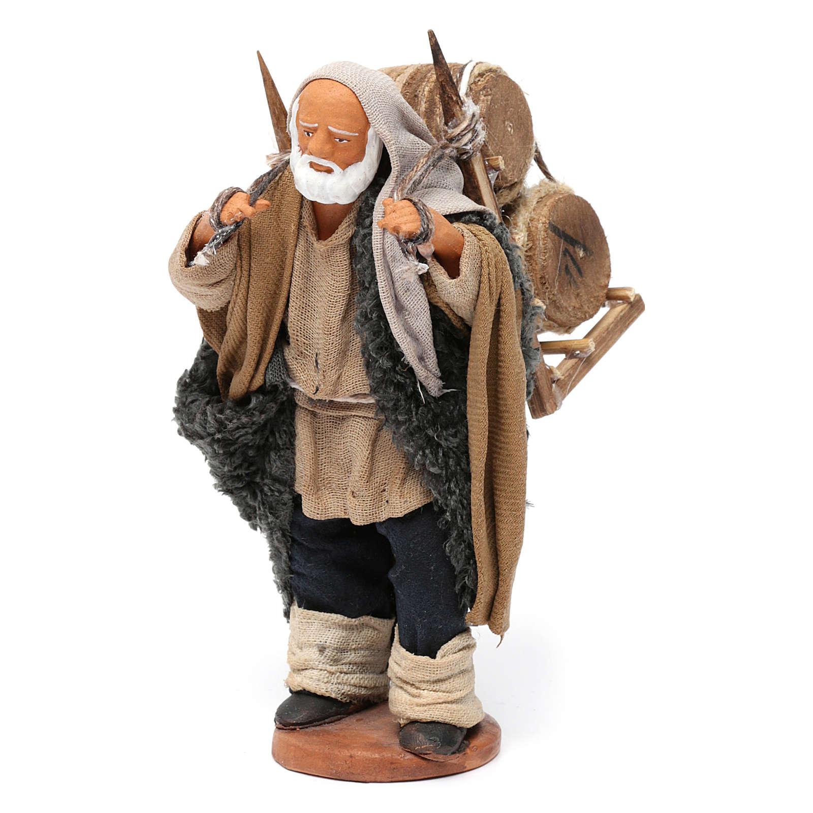Portatore delle botti legno presepe di Napoli 12 cm 4