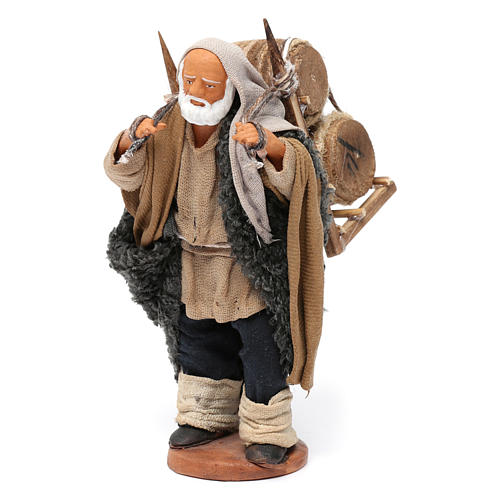 Man Carrying wood Barrels Nativity from Naples 12 cm 2