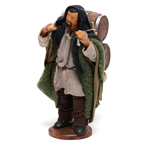 Man Carrying wood Barrels Nativity from Naples 12 cm 3