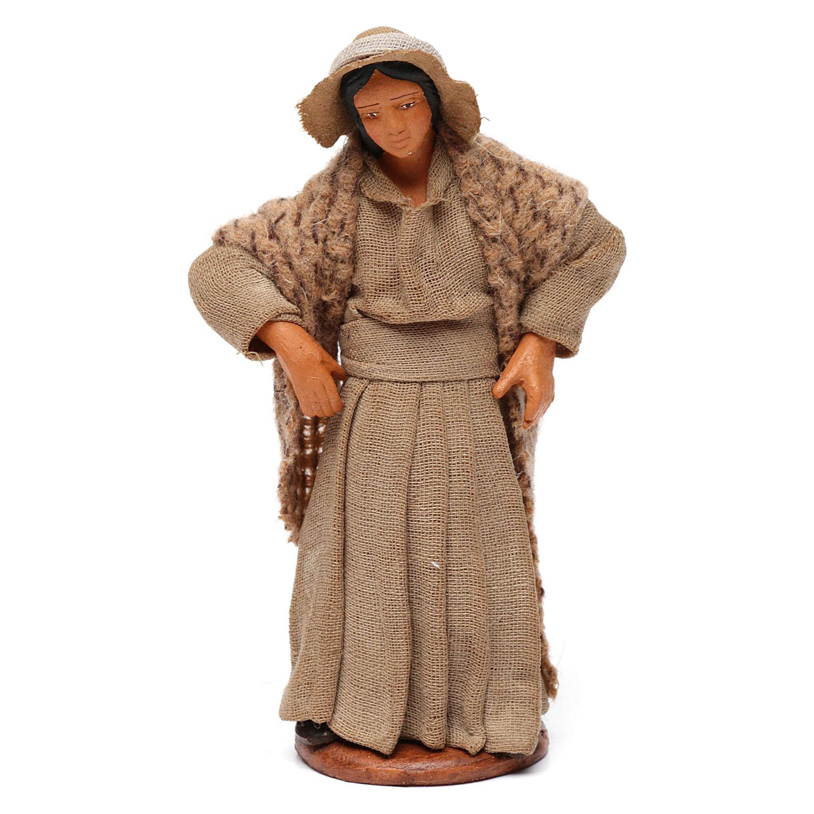 Donna con mani sui fianchi presepe di Napoli 12 cm 4