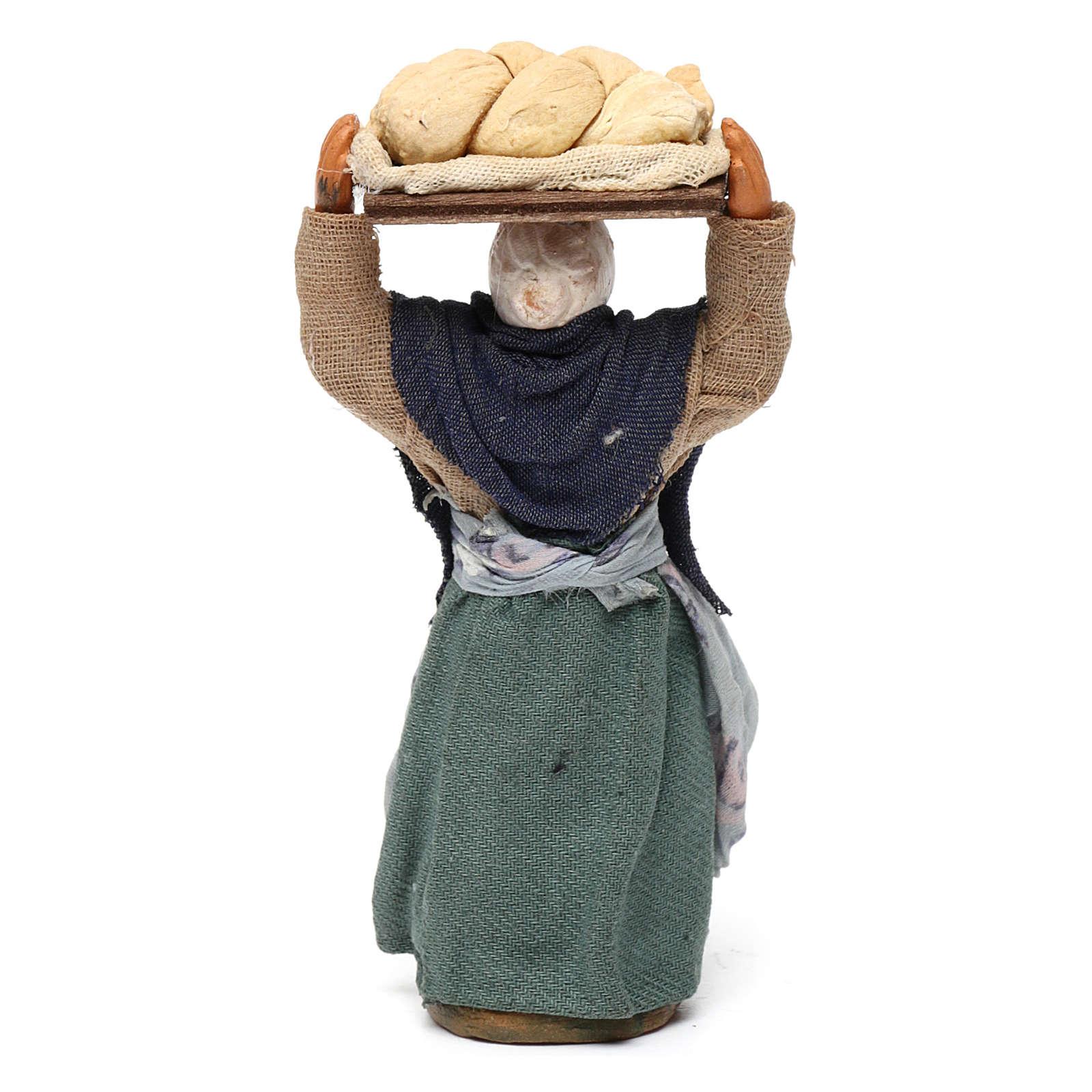 Donna con pane presepe napoletano 10 cm 4