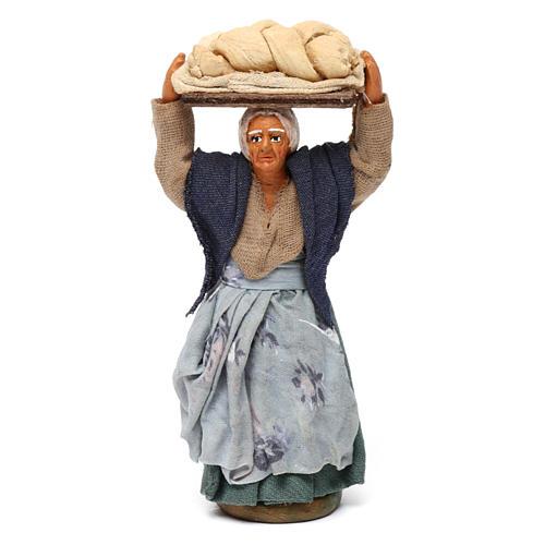 Donna con pane presepe napoletano 10 cm 1