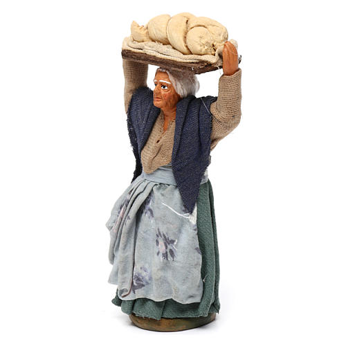 Donna con pane presepe napoletano 10 cm 2