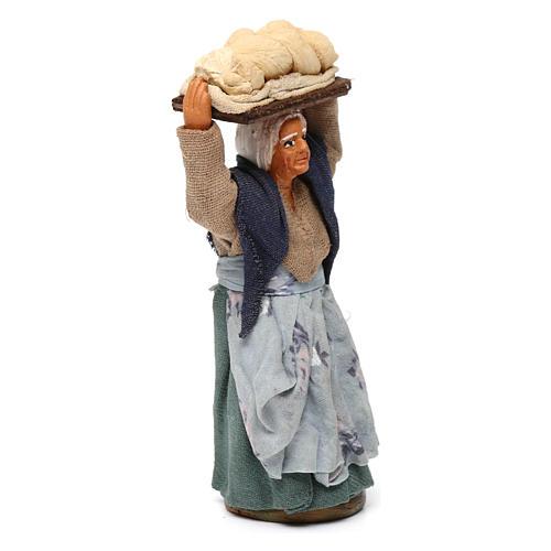 Donna con pane presepe napoletano 10 cm 3