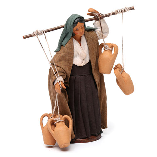 Woman Carrying Vases Neapolitan Nativity 12 cm 3