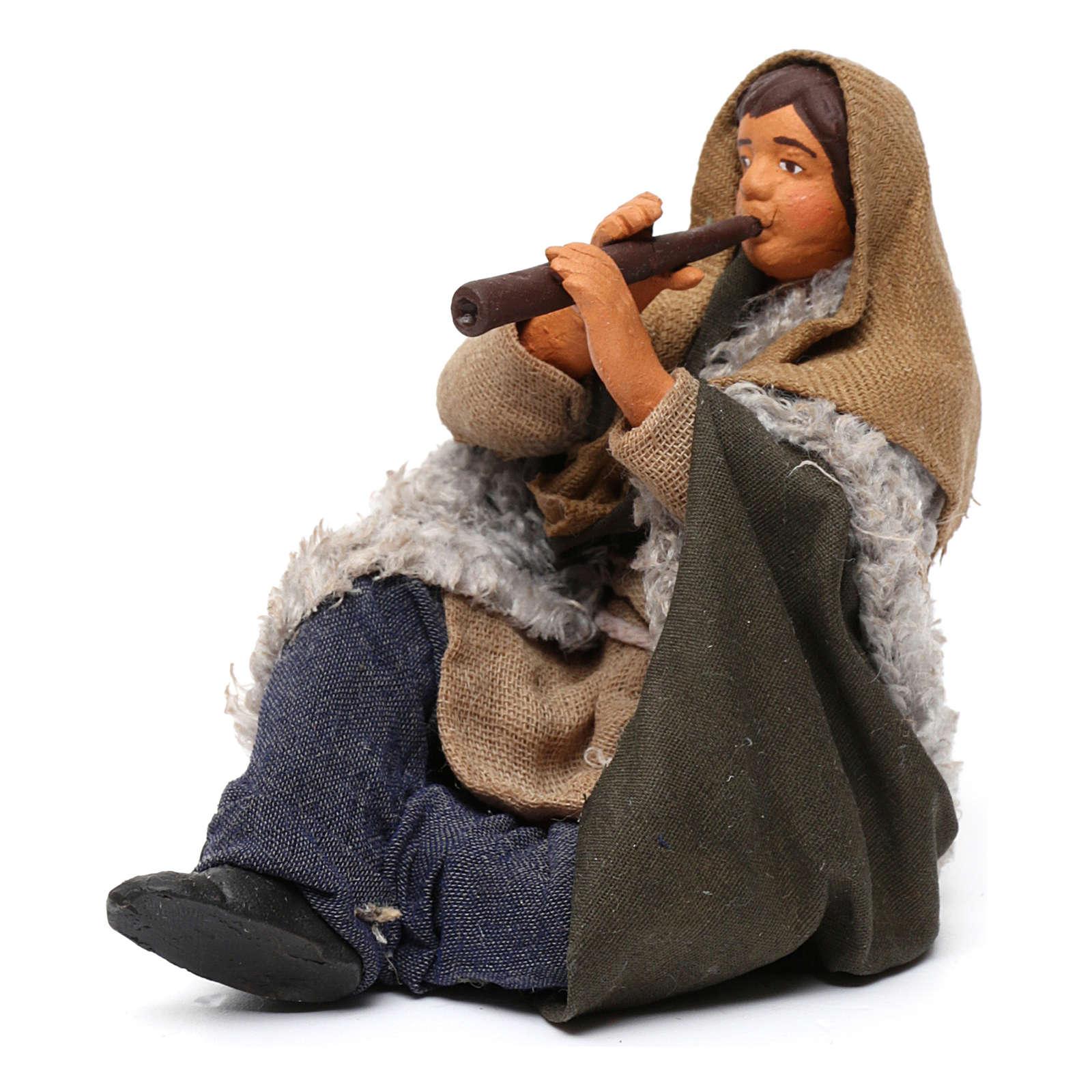 Flautista sentado en el suelo belén napolitano 12 cm de altura media 4