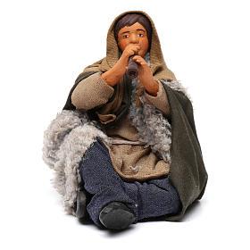 Flautista sentado en el suelo belén napolitano 12 cm de altura media s1