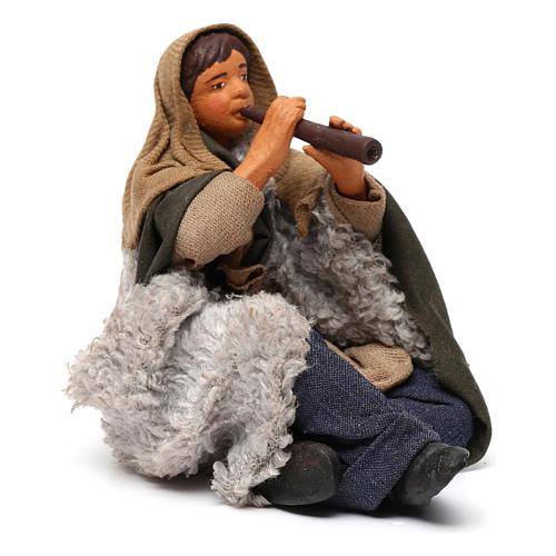 Flautista sentado en el suelo belén napolitano 12 cm de altura media 3