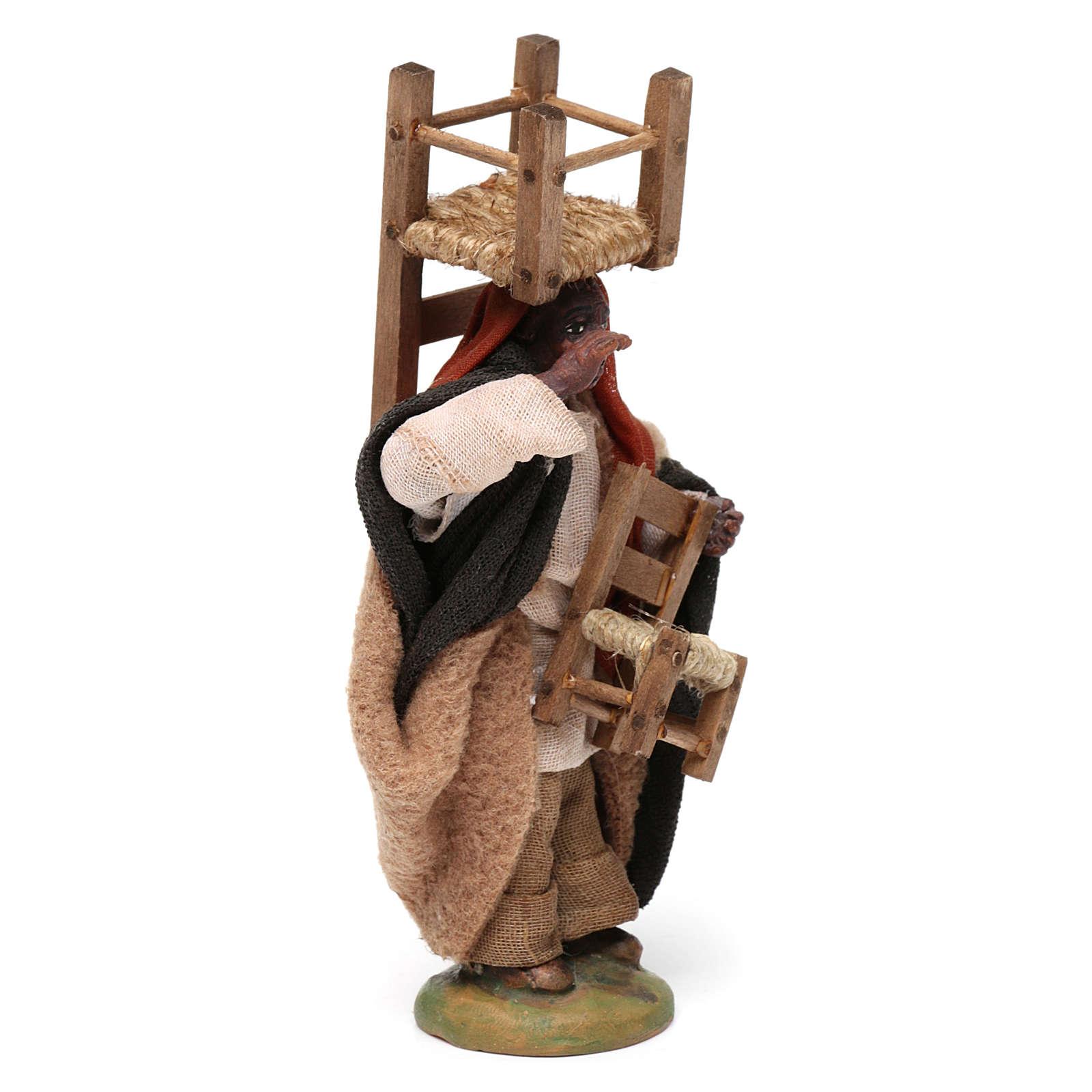 Moro con le sedie presepe di Napoli 10 cm 4