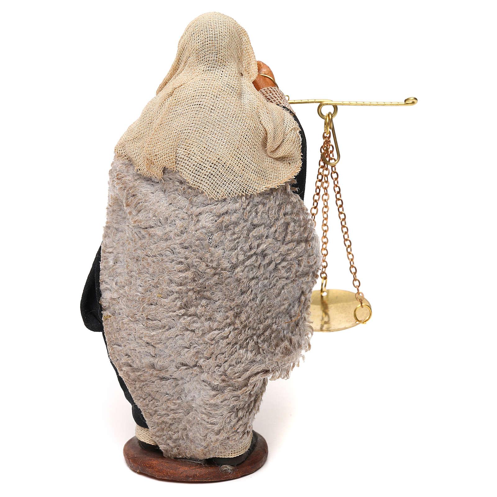 Uomo con bilancia e cesto presepe napoletano 12 cm 4