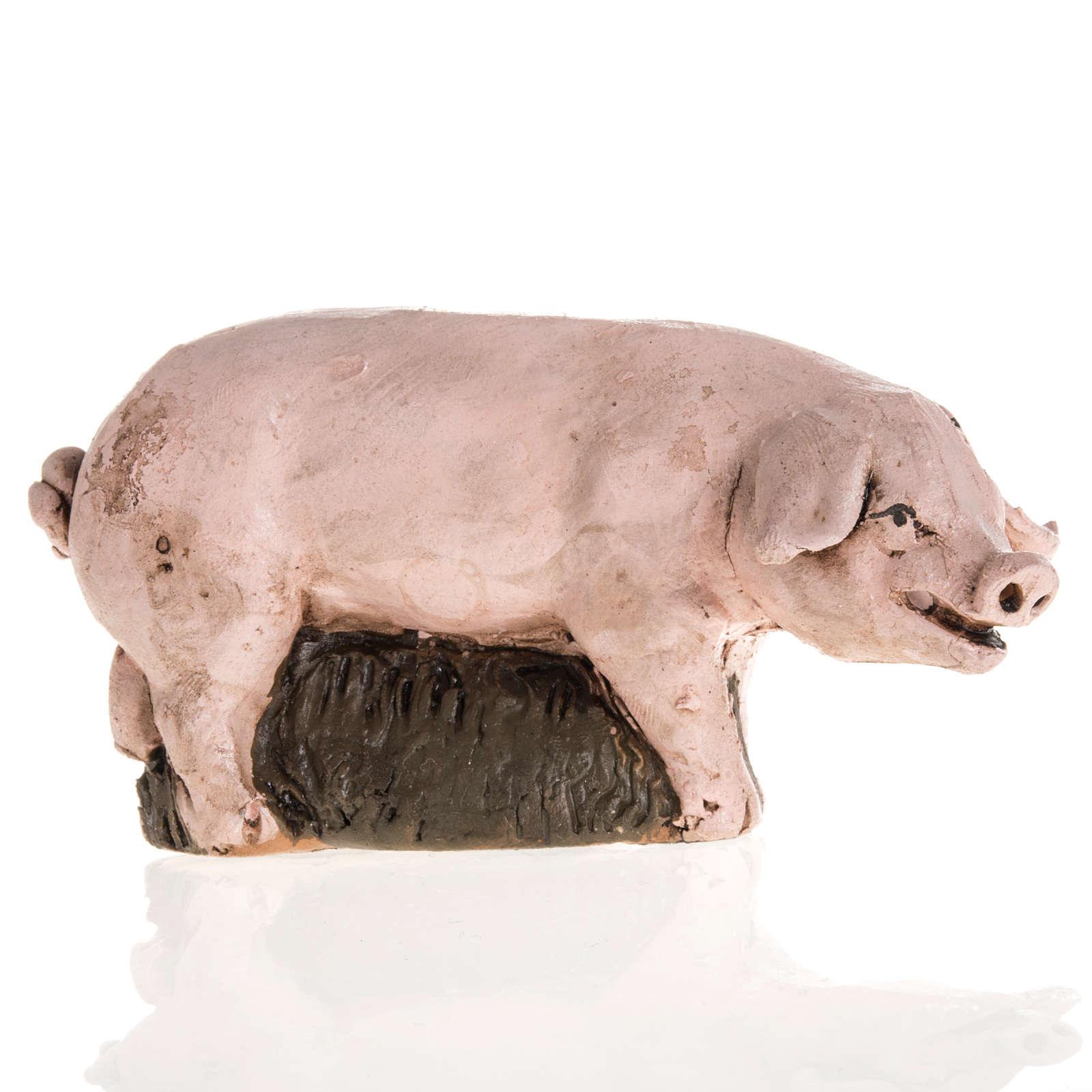 Cochon terre cuite crèche 18cm 4
