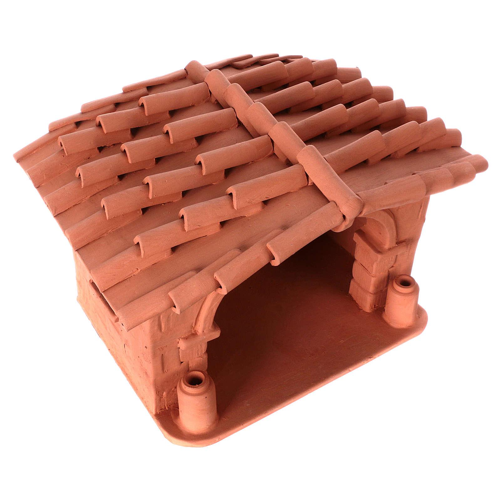 Capanna presepe terracotta illuminata Deruta 4
