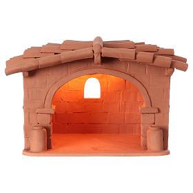 Capanna presepe terracotta illuminata Deruta s1