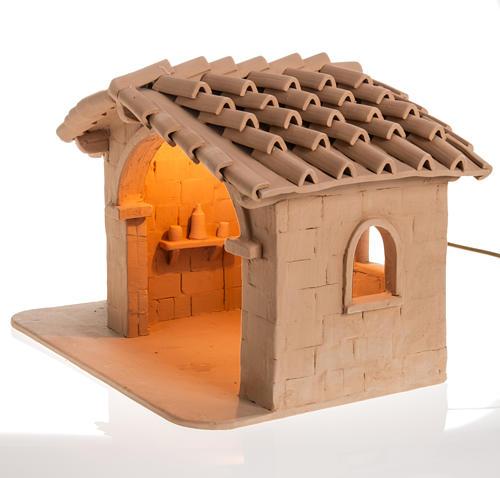 Capanna presepe terracotta illuminata Deruta 3