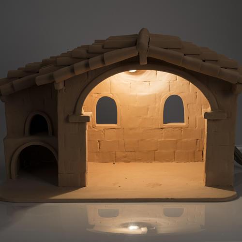 Capanna presepe terracotta illuminata Deruta 9