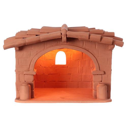 Capanna presepe terracotta illuminata Deruta 1