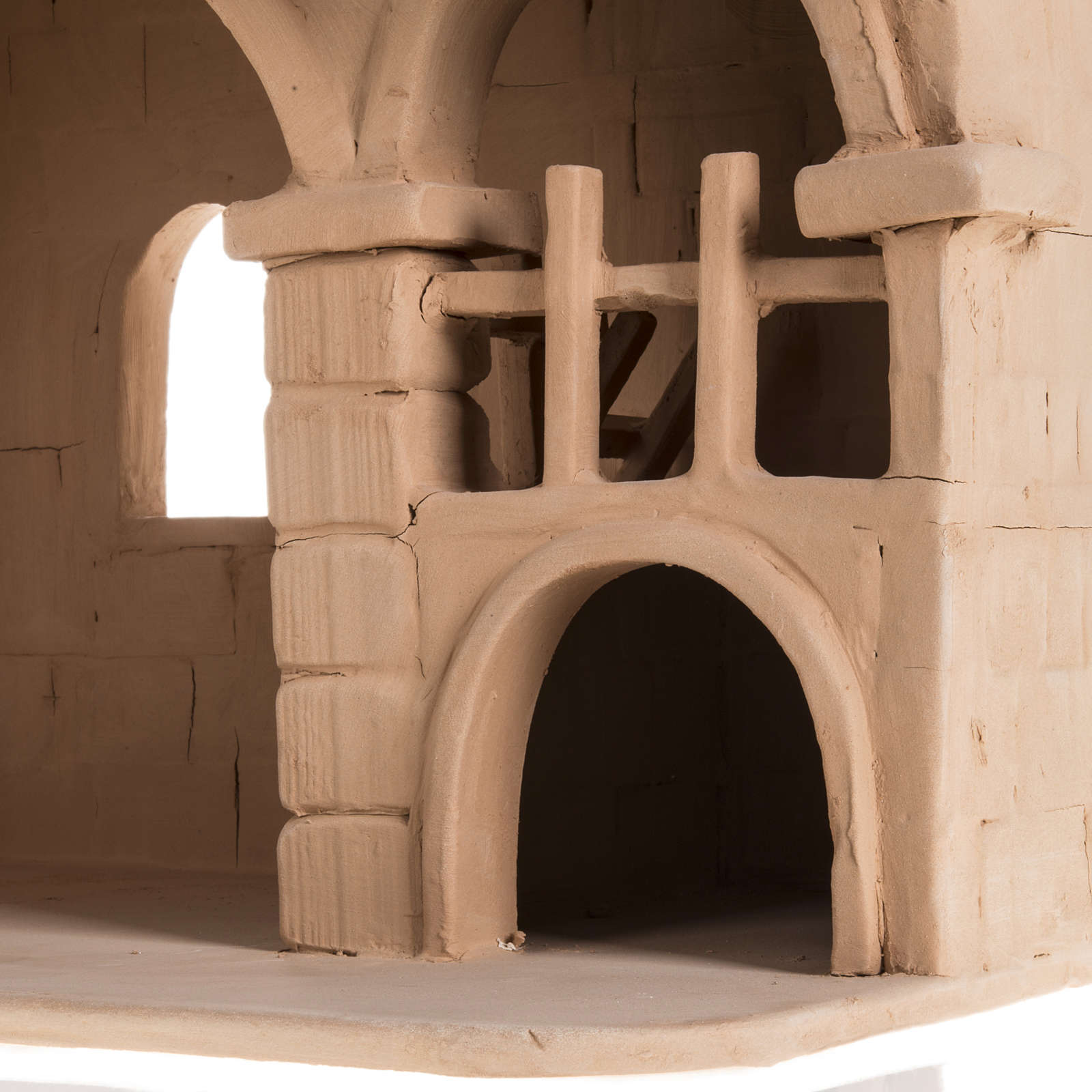 Capanna per presepe terracotta naturale illuminata 4