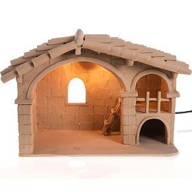 Presépio Terracota Deruta: Cabana para presépio terracota Deruta iluminada