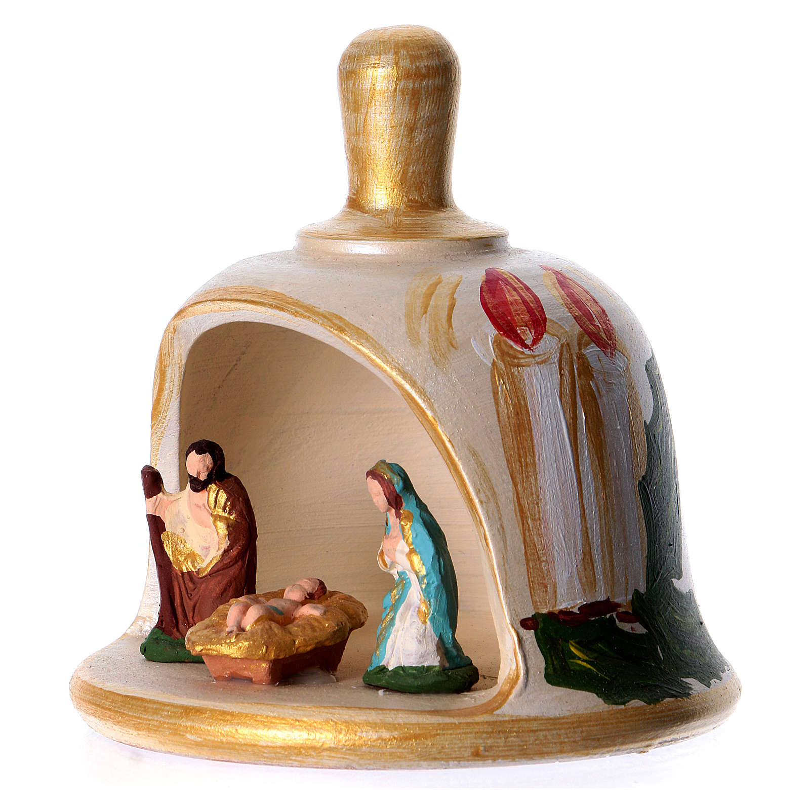 Bell in painted terracotta with nativity 4