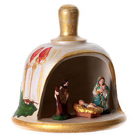 Bell in painted terracotta with nativity s3