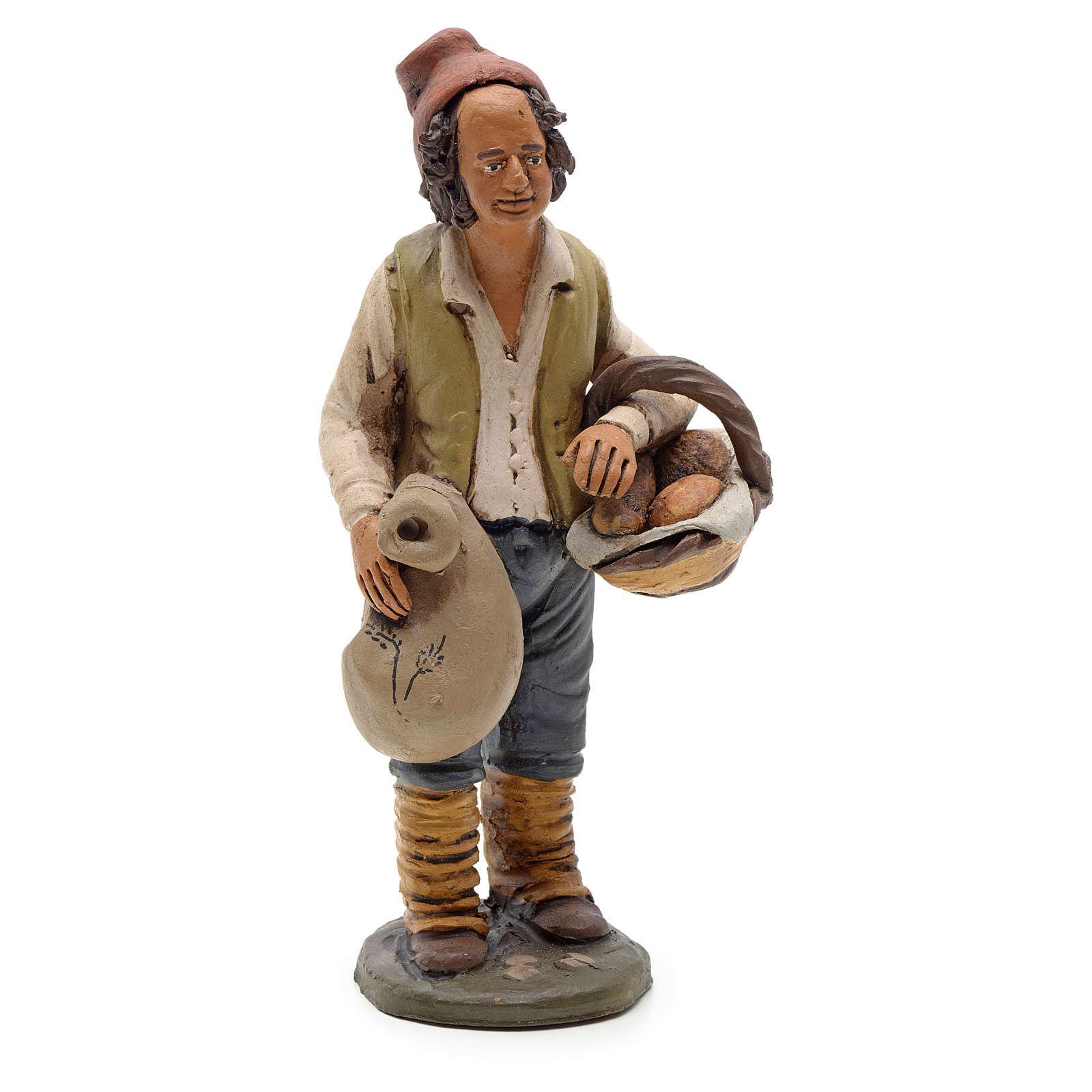 Man with bread, 18cm terracotta, Deruta 4
