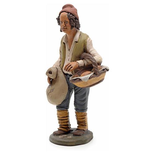 Man with bread, 18cm terracotta, Deruta 2