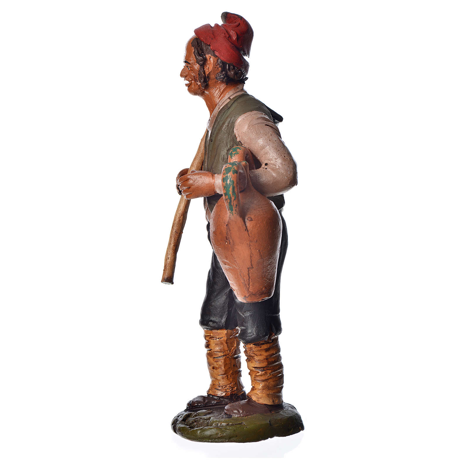 Uomo con zappa e anfora 18 cm presepe terracotta 4