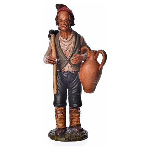 Uomo con zappa e anfora 18 cm presepe terracotta 1
