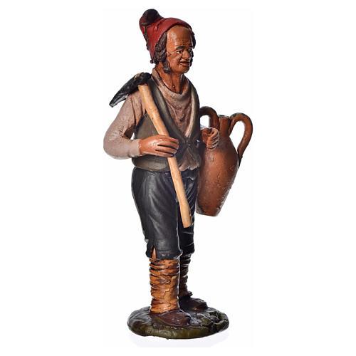 Uomo con zappa e anfora 18 cm presepe terracotta 2