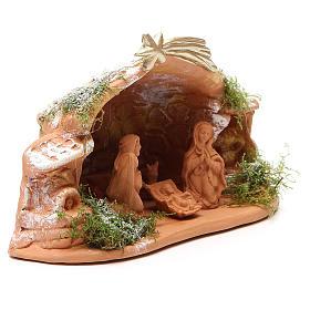 Nativité en terre cuite avec cabane 15x20x11 cm s3
