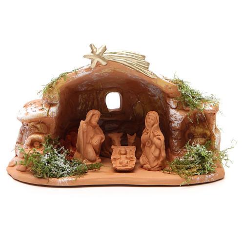 Nativité en terre cuite avec cabane 15x20x11 cm 1