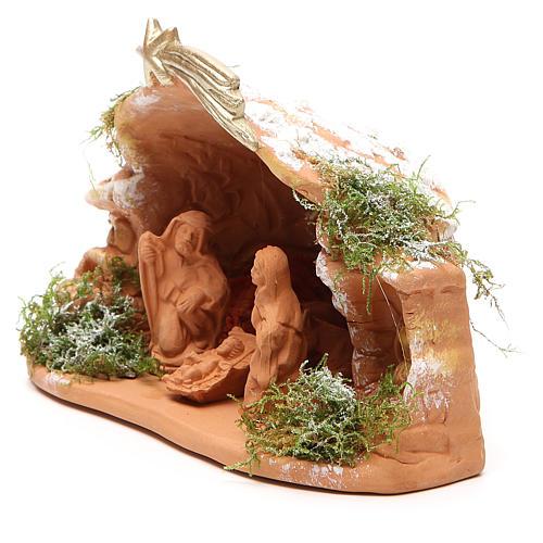 Nativité en terre cuite avec cabane 15x20x11 cm 2