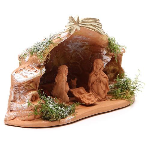 Nativité en terre cuite avec cabane 15x20x11 cm 3