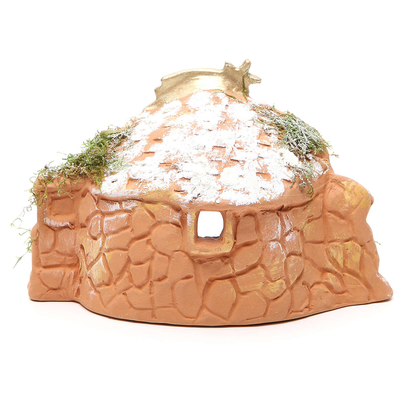 Natività in terracotta con capanna h. 15x20x11 cm 4