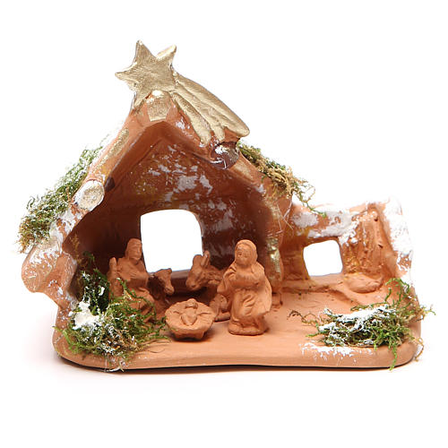 Nativity in Terracotta with Snow 10x12x7cm 1