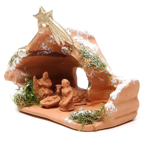 Nativity in Terracotta with Snow 10x12x7cm 2