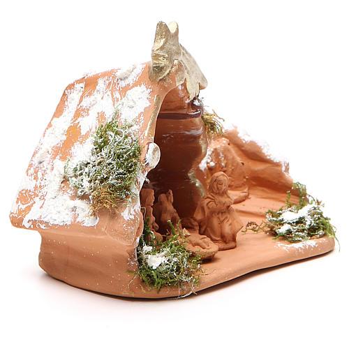 Nativity in Terracotta with Snow 10x12x7cm 3