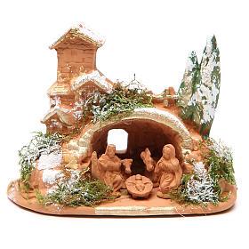 Presépio Terracota Deruta: Natividade em terracota com musgo 10x12x7 cm