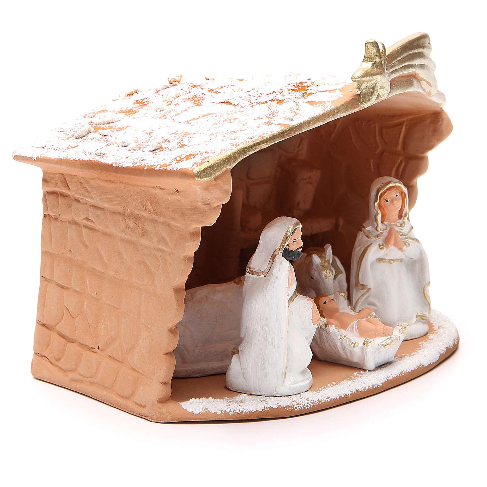 Nativité terre cuite décorée cabane et neige 20x10x16 cm 4