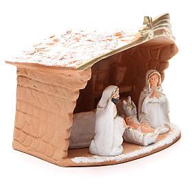 Nativité terre cuite décorée cabane et neige 20x10x16 cm s3