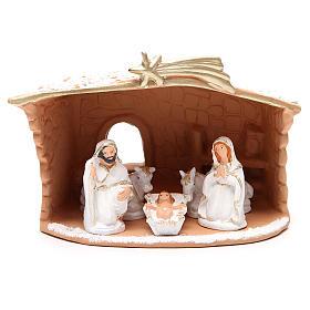 Presépio Terracota Deruta: Natividade terracota decorada cabana e neve h 20x10x16 cm