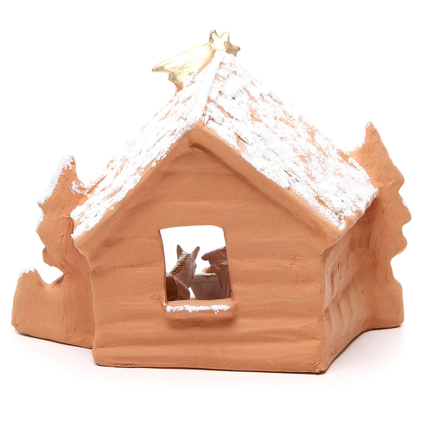 Natività Terracotta capanna e neve 20x14x 18 cm 4