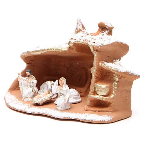 Cabaña con Natividad y nieve 10x12x9 cm 2