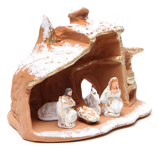 Cabaña con Natividad y nieve 10x12x9 cm 3