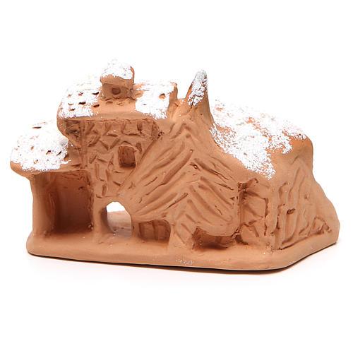 Cabaña con Natividad y nieve 10x12x9 cm 4