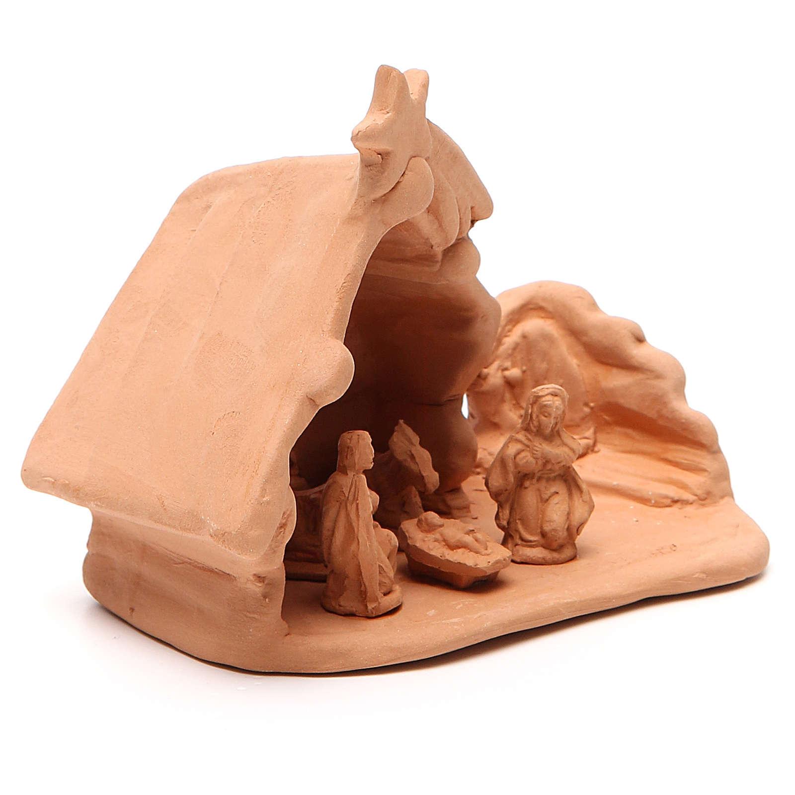 Natividad y caserío terracota 11x12x7 cm 4